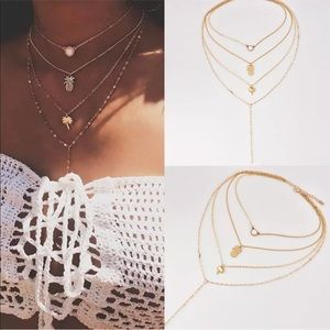 Jewelry - Women Multilayer Gold Chain Choker.
